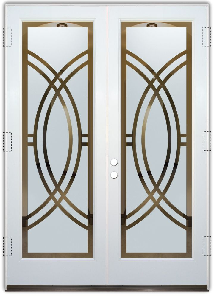 Arcs Ii Etched Glass Front Doors Art Deco Design Provide Privacy