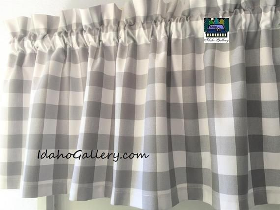 buffalo check gingham 1 inch gray and white check kitchen curtain country curtain 14 x 43 retro