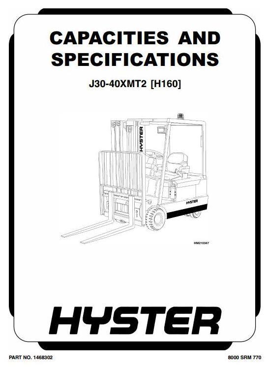 Hyster Forklift Truck Type H160: J30XMT2, J35XMT2, J40XMT2