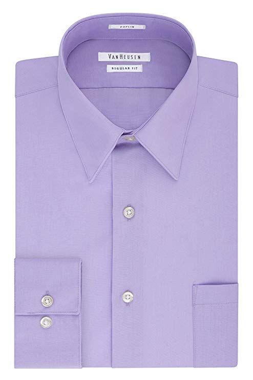 c1999ea6b51 Van Heusen Men s Poplin Regular Fit Solid Point Collar Dress Shirt at  Amazon Men s Clothing store