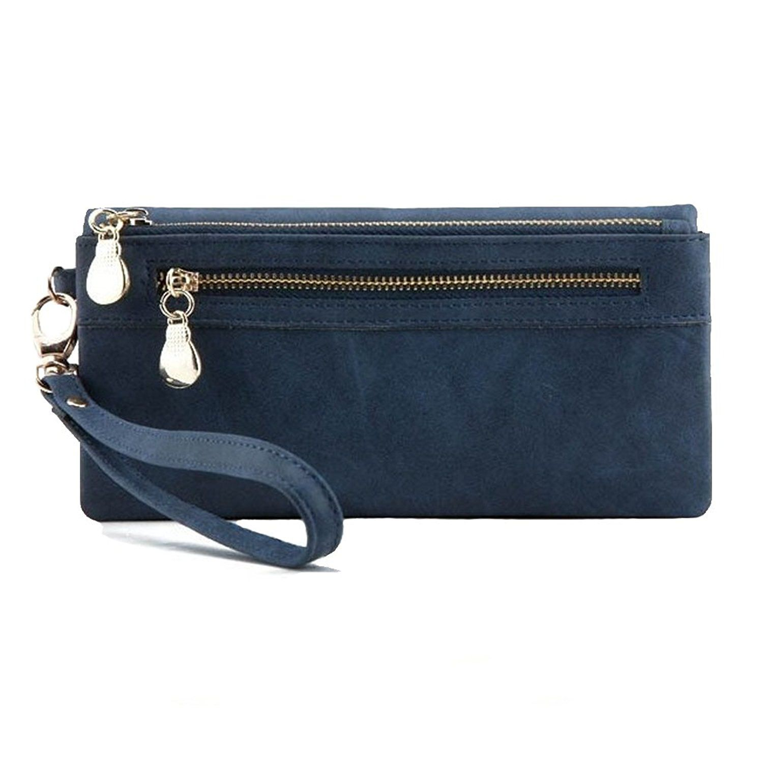 Blue Leather Clutch Purse Wristlet with Double Zipper ** Details can be found by clicking on the image. (This is an Amazon Affiliate link and I receive a commission for the sales)