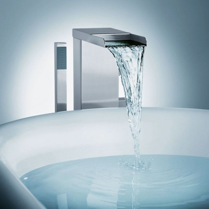 $629 - Thermostatic Waterfall Freestanding Bath Filler with Brass ...