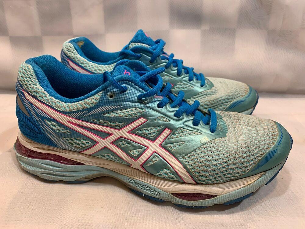 Asics Gel Cumulus 18 Running Shoes Women S Size 7 5 Blue Pink T6c8n Asics Womens Running Shoes Asics Women Shoes