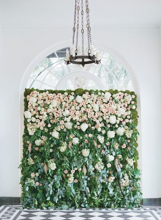 blush roses and greenery wedding backdrop / http://www.deerpearlflowers.com/wedding-ceremony-arches-and-altars/2/