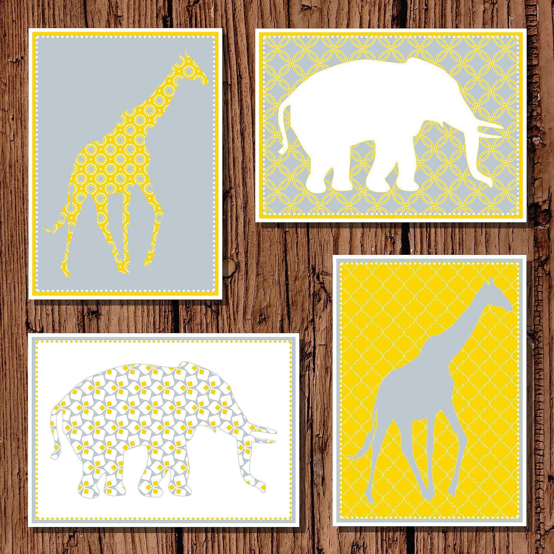 Baby nursery Giraffe and Elephant Silhouette Yellow & Gray, 5x7 set ...