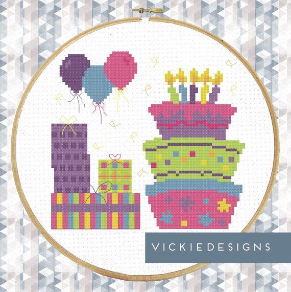 Modern Birthday Presents Cake Balloons Cross by VickieDesigns