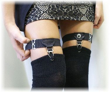 Leg garter, hipster, rocker, punk, gothic. wedding, sock garter, Rocker black leg garter | front grip