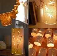 These cylinder lanterns can be placed on tabletops or secured to light strands for hanging.