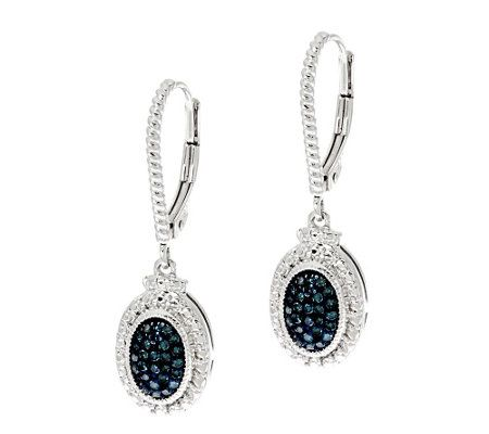 Color Diamond Drop Earrings, Sterling 1/4 cttw by Affinity