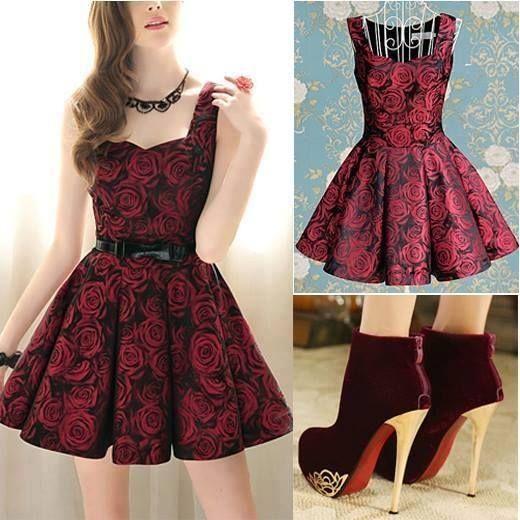 Vestido color vino con negroun estampado de flores hermoso unos zapatos de tacu00f3n | vestidos ...