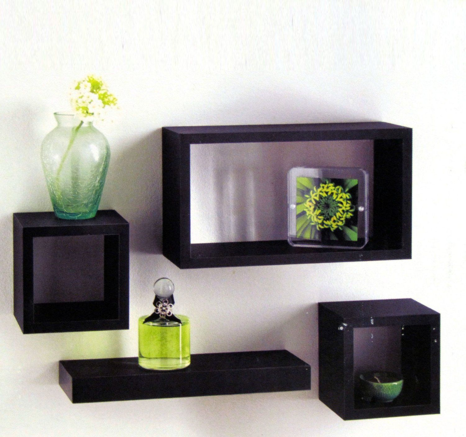 Set Of 4 Black Wooden Wall Mounted Retro Floating Cube Shelving