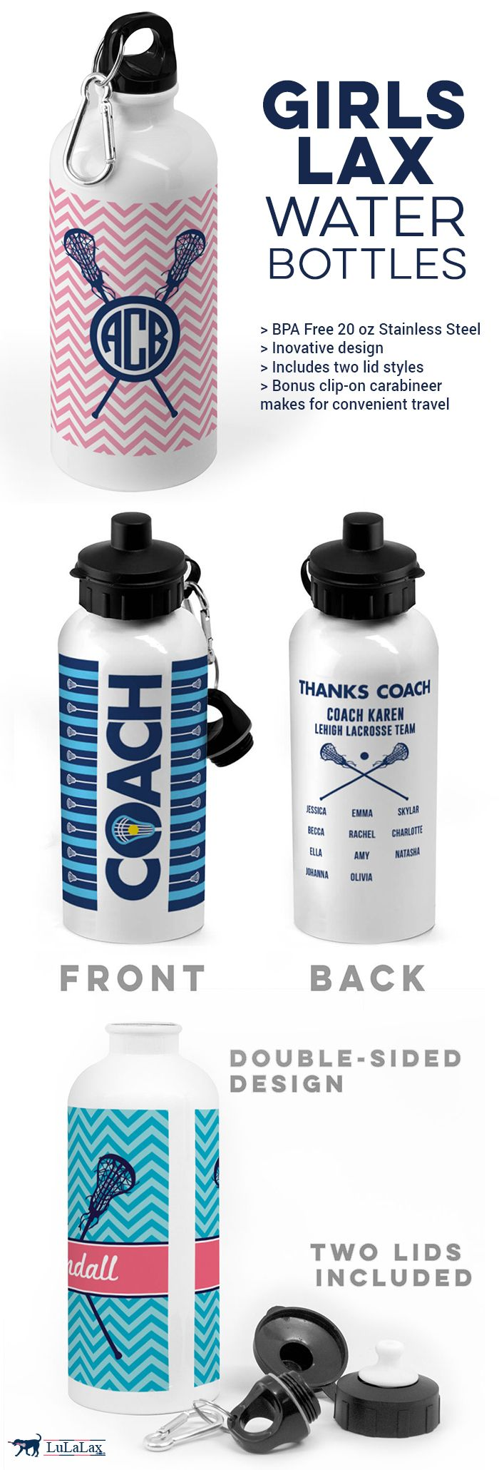 Our girls lacrosse water bottles make great gifts for players, parents and coaches! Choose from dozens of designs, colors, and personalization options!