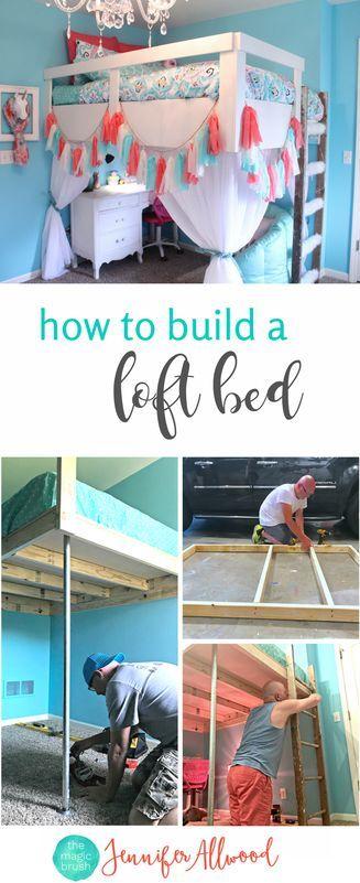 How to Build a Loft Bed for a Girls Bedroom by Jennifer Allwood -Tween Girl Bedroom Ideas - DIY Loft Bed - Loft Bed Directions - DIY Building Plans  #girlsroom #bedroom #diy #diyprojects #homedecor