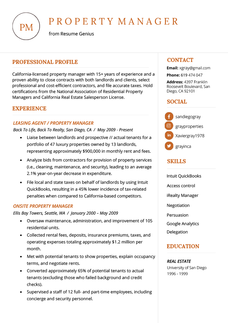 Property Manager Resume Example Writing Tips Resume Genius Resume Examples Basic Resume Examples Manager Resume