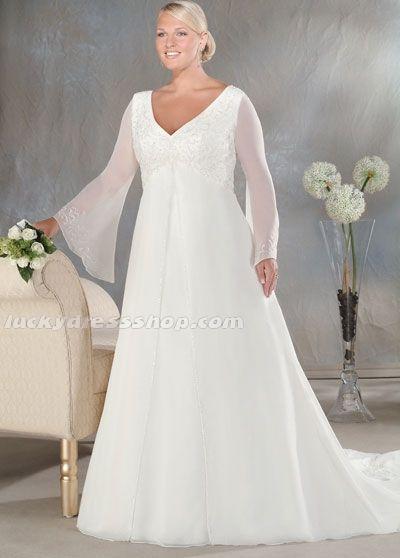 White Plus Size Chiffon Gardenoutdoor Wedding Dress With Appliques