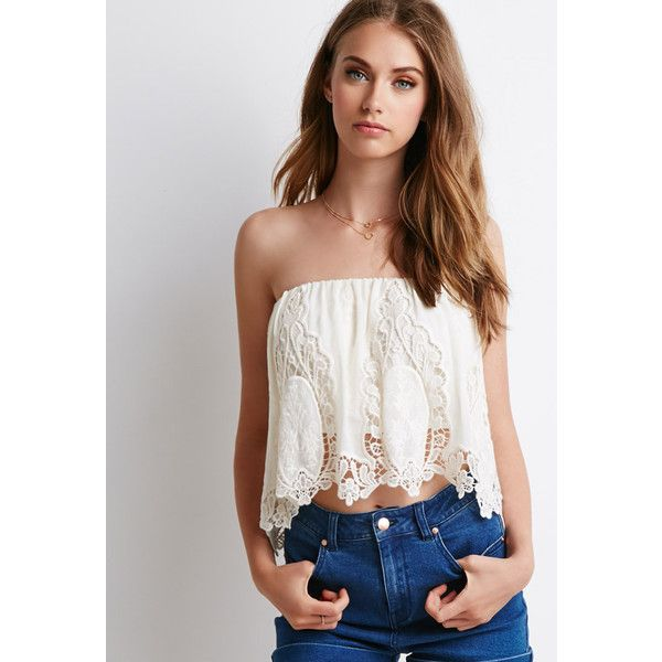 Forever 21 Crochet-Paneled Chiffon Top ($20) ❤ liked on Polyvore