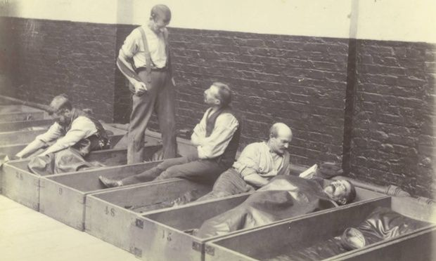 Coffin beds at a Salvation Army shelter in London 1900