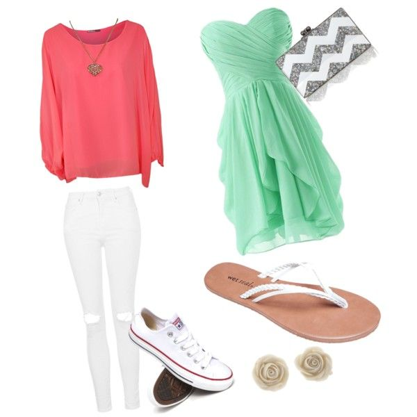 a day out by kklewis2005 on Polyvore featuring polyvore fashion style WearAll Topshop Converse Wet Seal Edie Parker