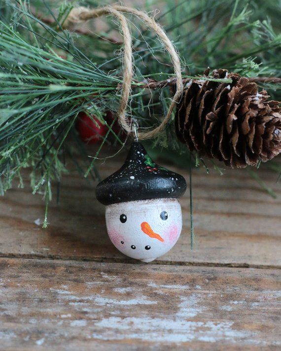 Folk Art Snowman Ornament Hand Painted Wooden Acorn Snowman Head