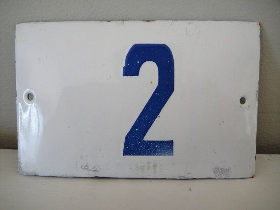1930s house number bulgaria blue and white by rustynaildesign