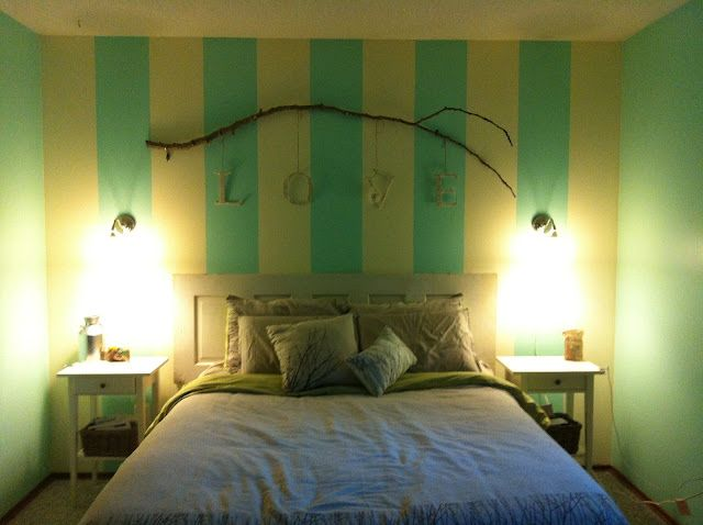 Tiffany blue bedroom, branch with hanging letters LOVE