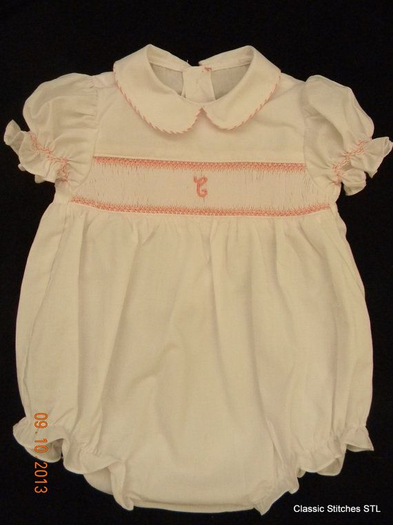White Initial Smocked Toddler Girl Bubble by ClassicStitchesSTL, $62.00