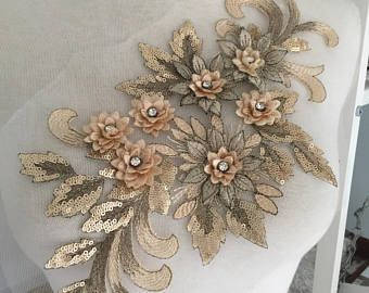 Lace applique trim bridal lace applique floral corded wedding