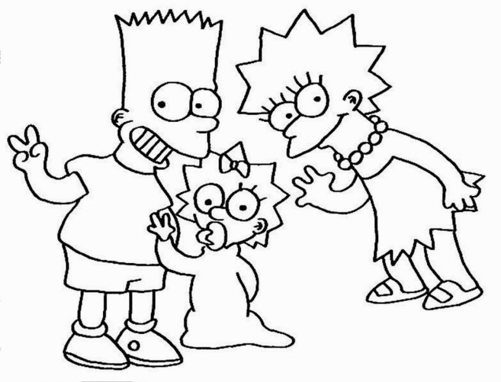 lisa maggie and bart simpsons coloring page more the simpsons coloring sheets on hellokids - The Simpsons Colouring Pages
