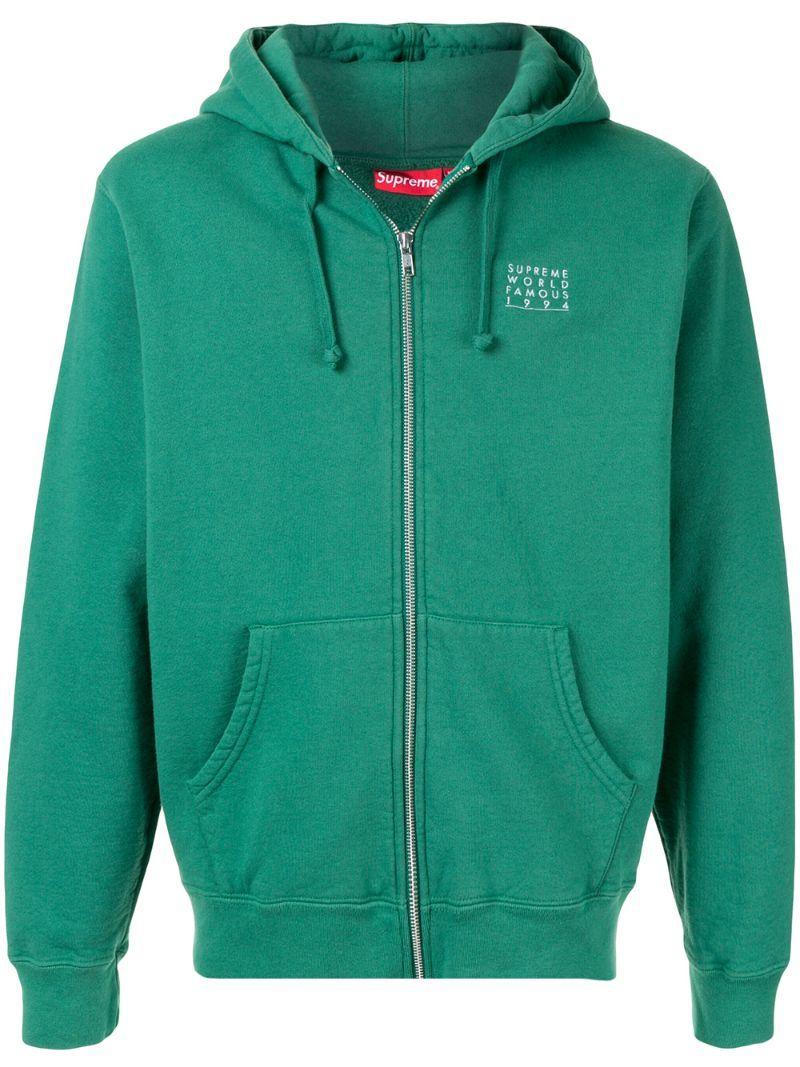 Supreme World Famous Zip Up Hoodie In Green Modesens Hoodies Zip Ups Zip [ 1067 x 800 Pixel ]