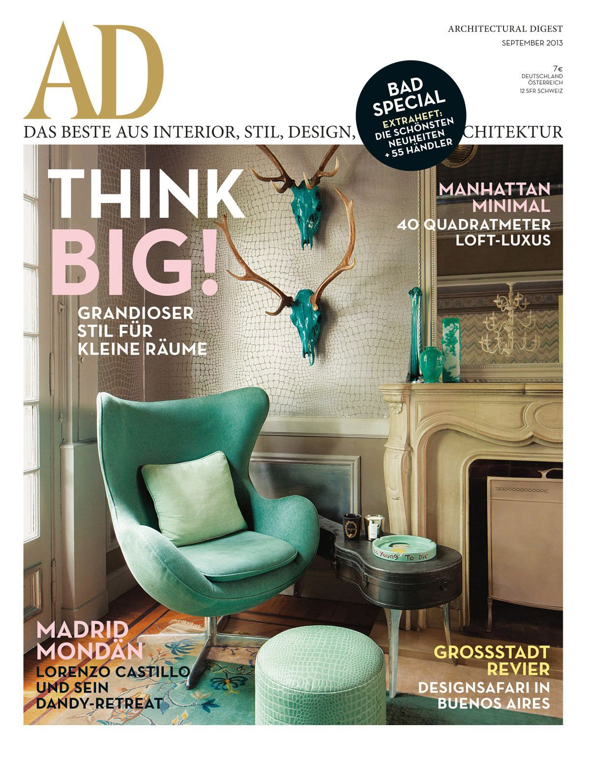 Bad Design Zeitschrift cover ad 09 2013 fp for the home ads egg chair and