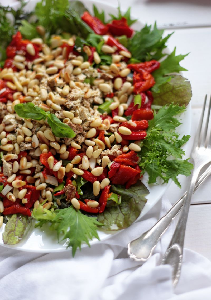 Roasted Pepper Salad With Vegan Feta Cheese