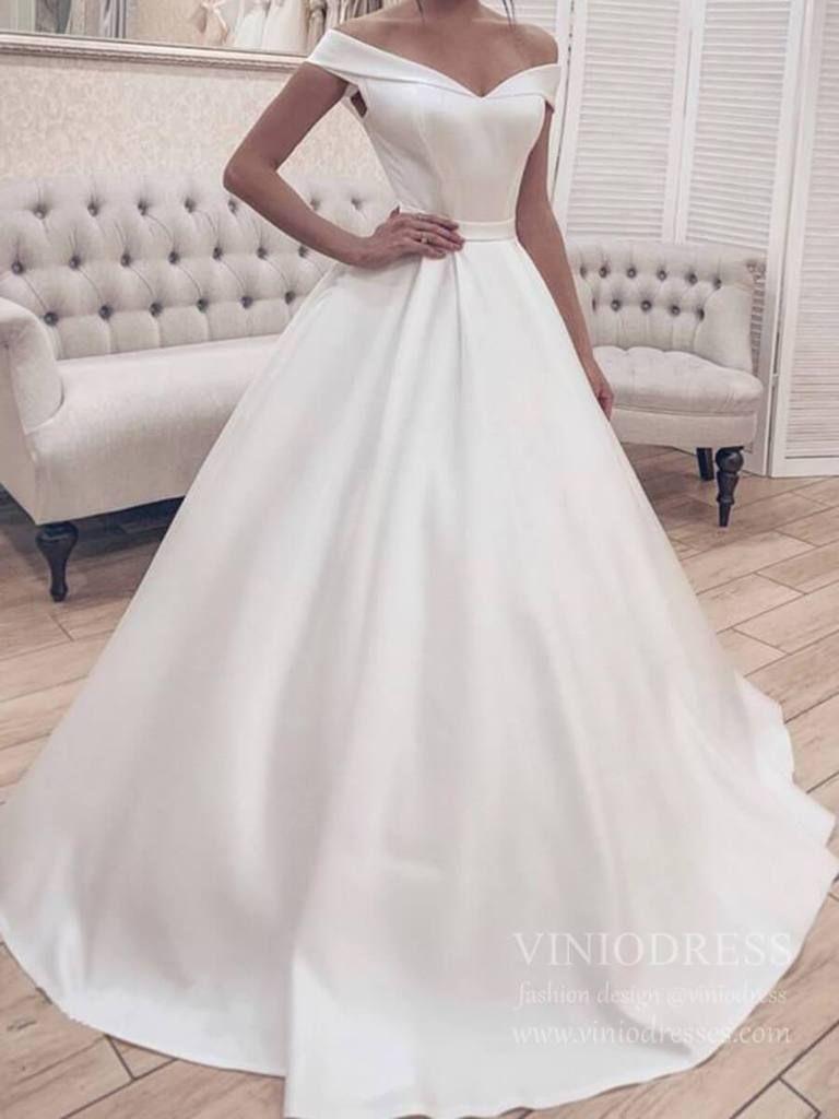 Elegant Simple Modest Wedding Dresses Off The Shoulder Vw1397 Modest Wedding Dresses Ball Gowns Wedding Wedding Dresses Satin [ 1024 x 768 Pixel ]