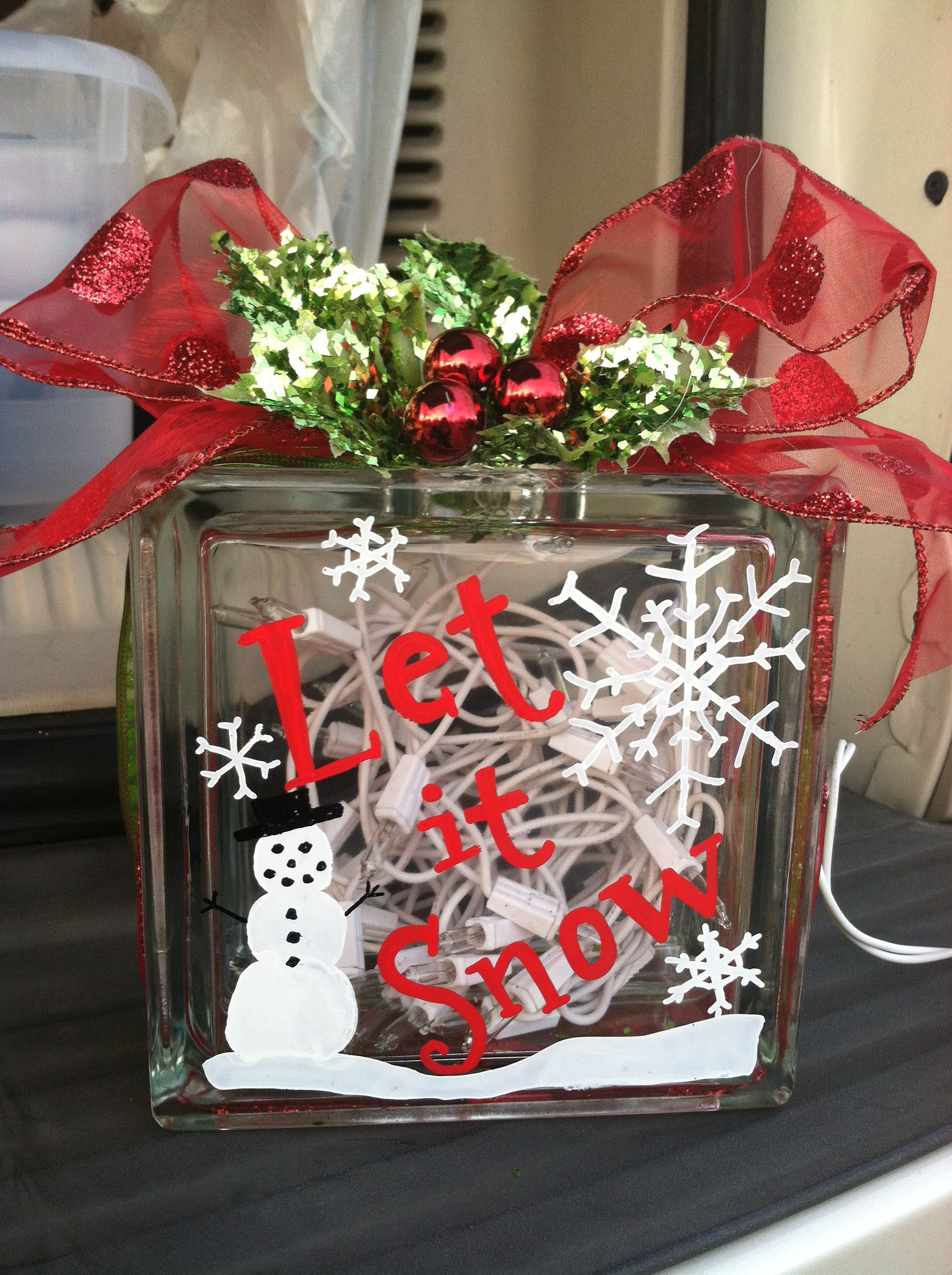 DIY Christmas Light Up Glass Block All from Hobby Lobby