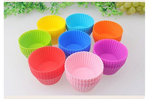 24 Pack Non Stick Silicone Cupcake Cups Mutil Colors Liners