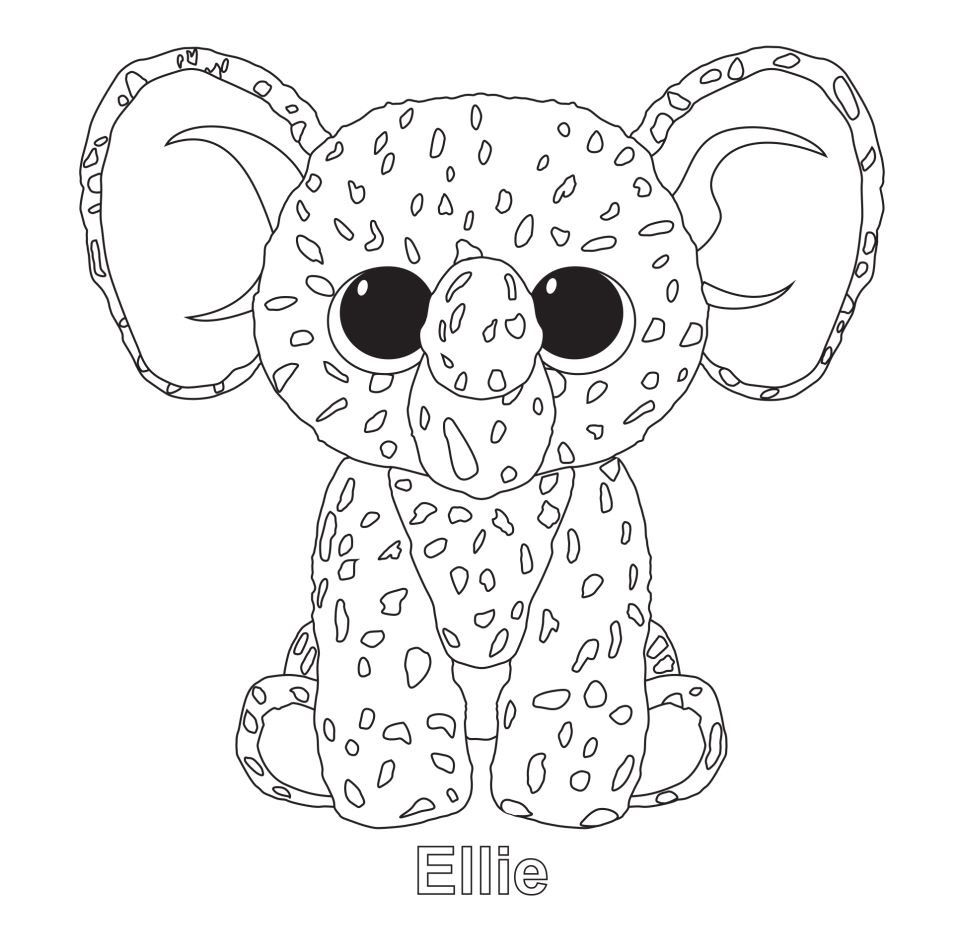 Ellie the Elephant TY Beanie Boo - Coloring.   Pinterest