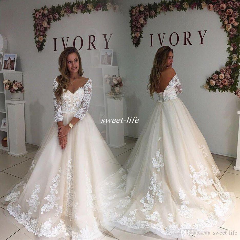 Modest Plus Size Wedding Dresses With Illusion Sleeve 2017 Vintage ...