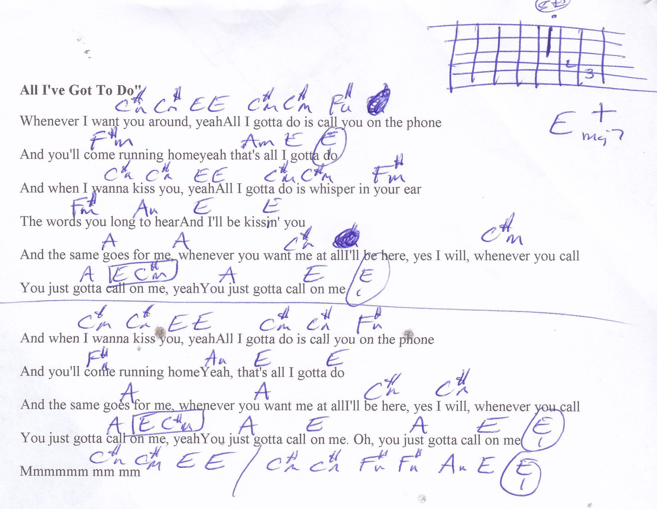 All I Ve Got To Do Beatles Guitar Chord Chart With Images