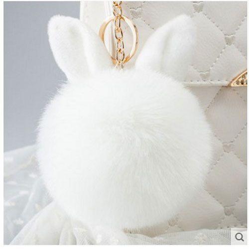 Fur Pom Pom Keychain Fluffy Bunny Rabbit Fur Keychain for Women Bag Charm Rabbit Ears Key Chain Car Key Ring chaveiro Keychains
