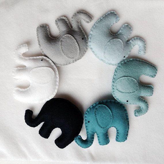 Ombré blues and teals Elephant garland. Nursery, kids room  on Etsy, $35.00 #feltedwoolanimals
