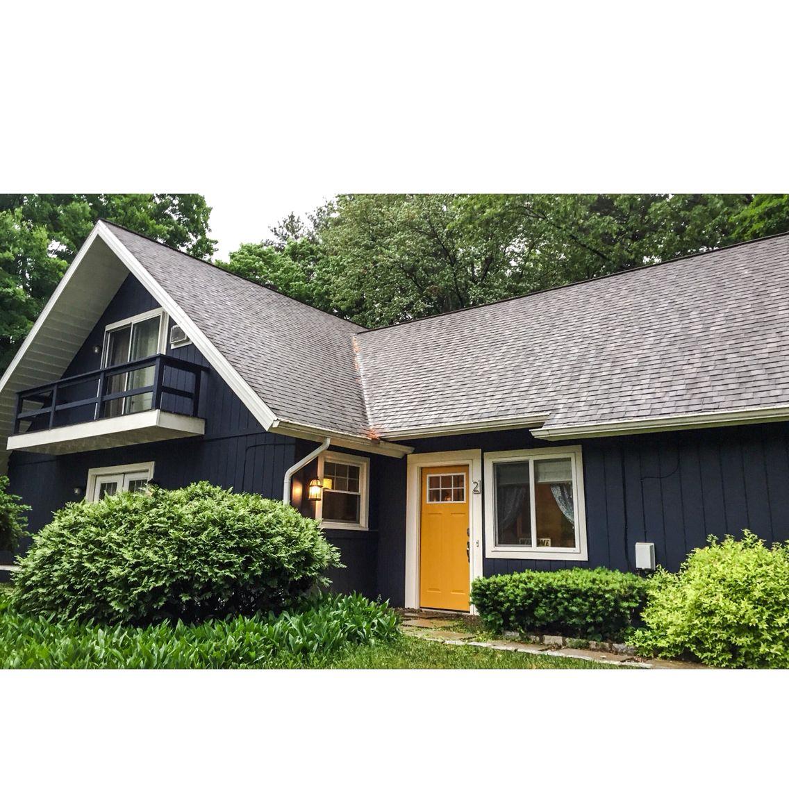 Yellow Front Door With Benjamin Moore Navy Hale House