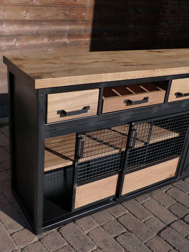 Fabrication Sur Mesure Mobilier Industriel Bois Metal Bois Metal Meuble Rangement Cuisine Buffet Porte Coulissante