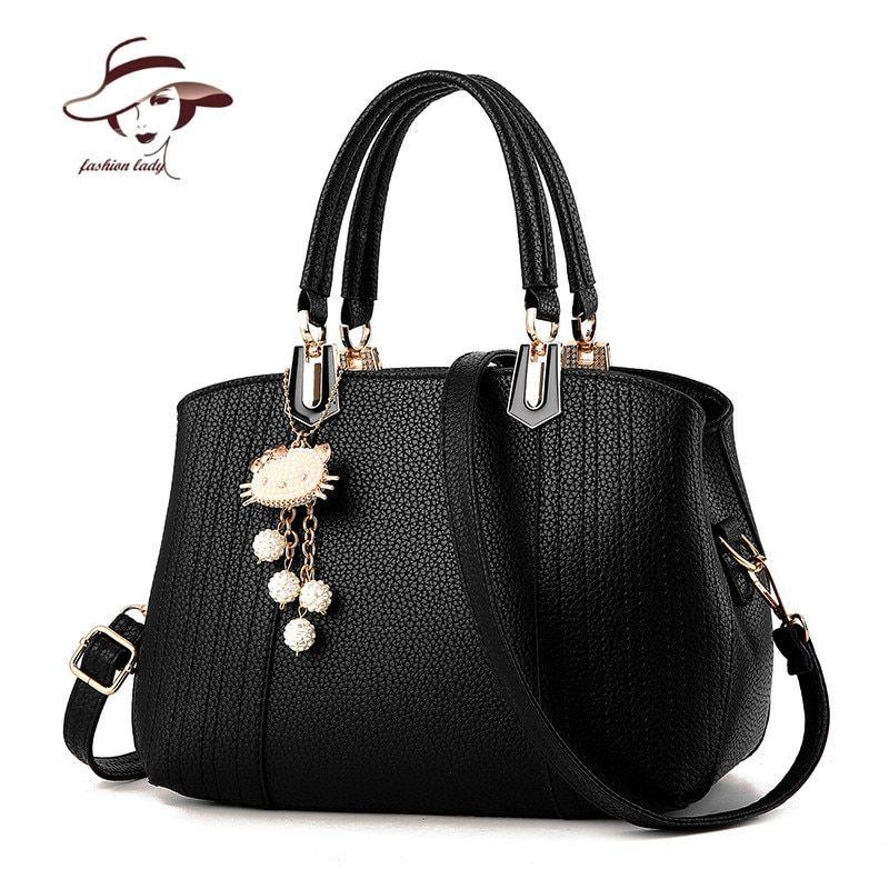 e6c6004cc1 2017 Girls Bag Hello Kitty Pendant Women Messenger Bag Ladies Beading Shoulder  Bag PU Leather Hand Bag Lovely Crossbody Tote   Price   36.20   FREE  Shipping ...