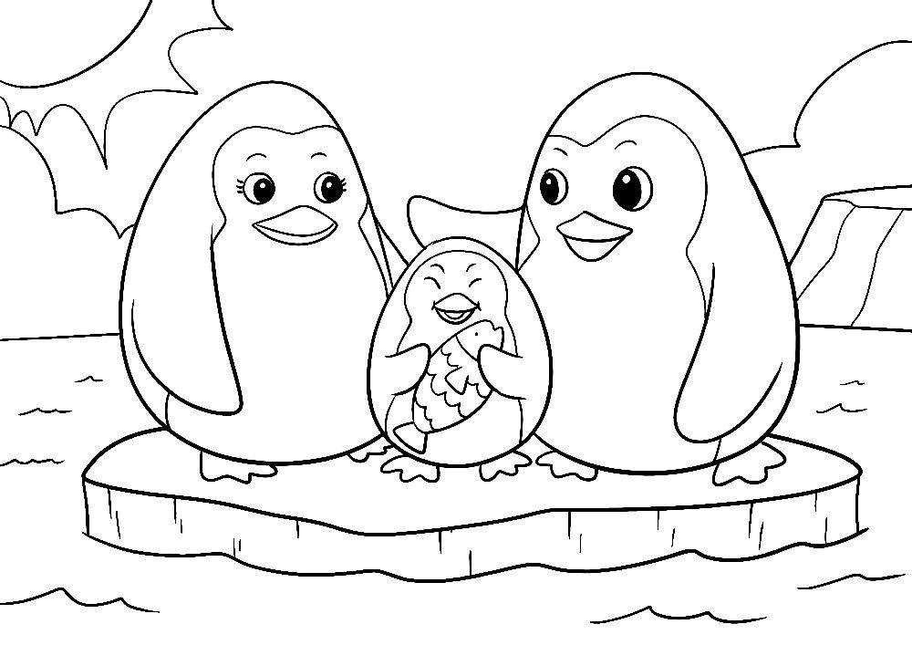 ausmalbilder tiere - pinguin familie | ausmalbilder tiere