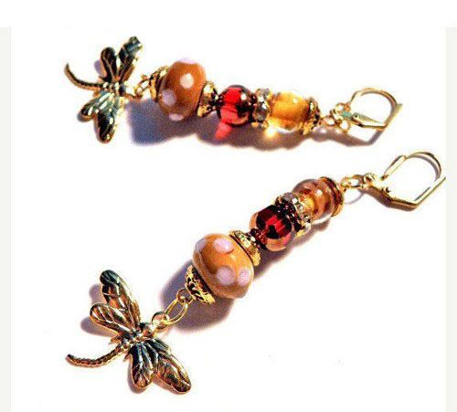 Lampwork Earrings caramel amber red gold LE029