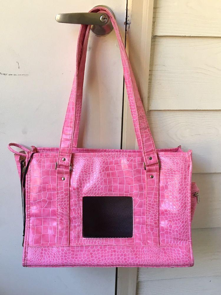 Chelsea Paws Pet Dog or Cat Carrier Bag Fushia Pink Crock