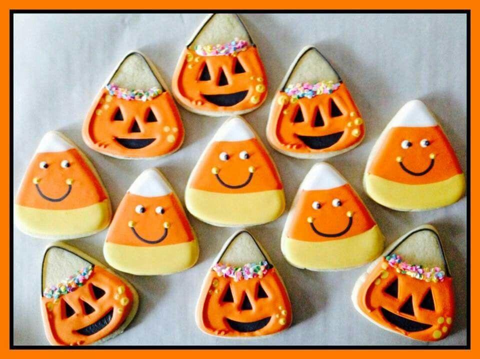 April Nicole Awadalla Candy Corn  Pumpkin baskets for Halloween - halloween pumpkin cookies decorating