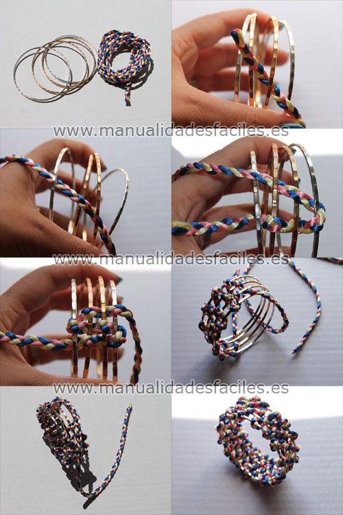 0dcf6a72b603 Como hacer una pulsera con aros metalicos y cordón trenzado ...