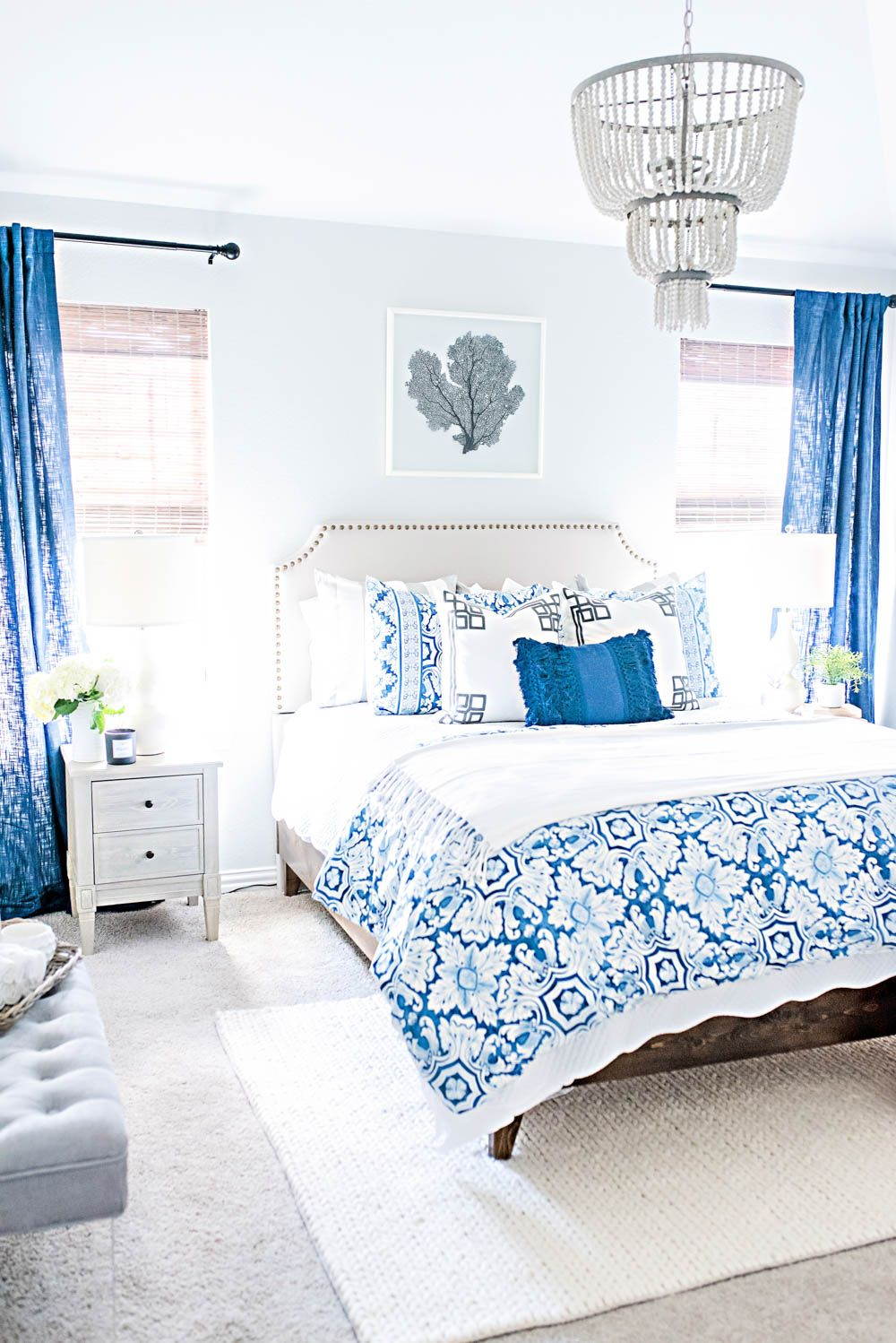 Blue And White Coastal Guest Bedroom Reveal Small Guest Bedroom Blue White Bedroom Small Room Bedroom