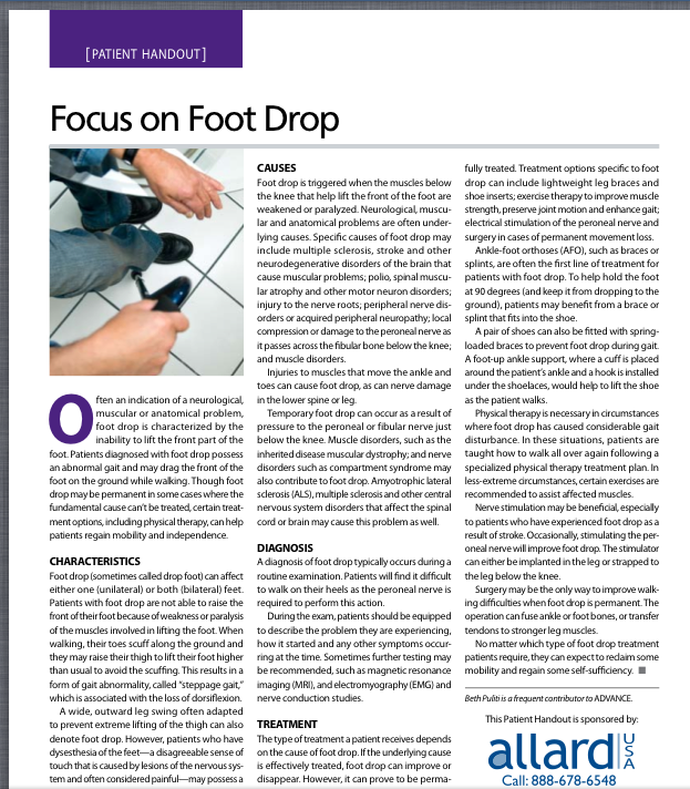 Footdrop-Patient Handout. Pinned by SOS Inc. Resources http://pinterest.com/sostherapy.