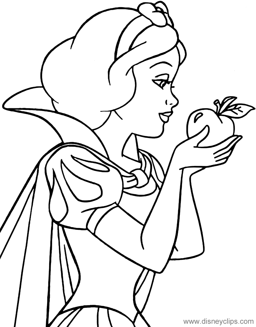 Coloring Page Of Snow White Holding An Apple Snowwhite Snow White Coloring Pages Disney Coloring Pages Disney Princess Coloring Pages